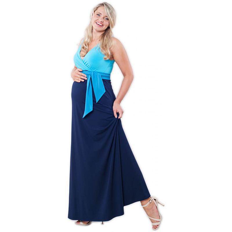 Dlouhé těhotenské šaty Madeline Blue Long 3c04171316