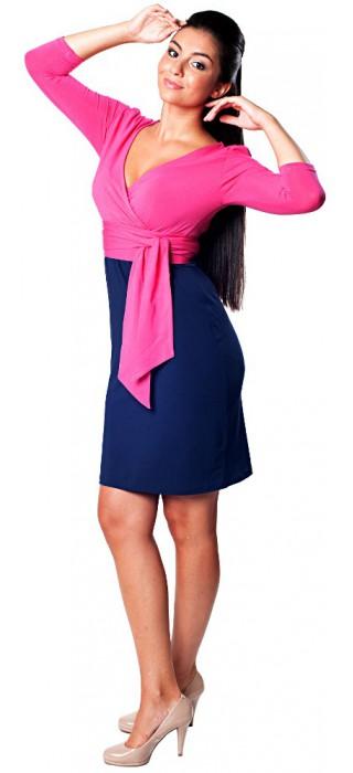 Těhotenské šaty - Danielle True Pink & Navy