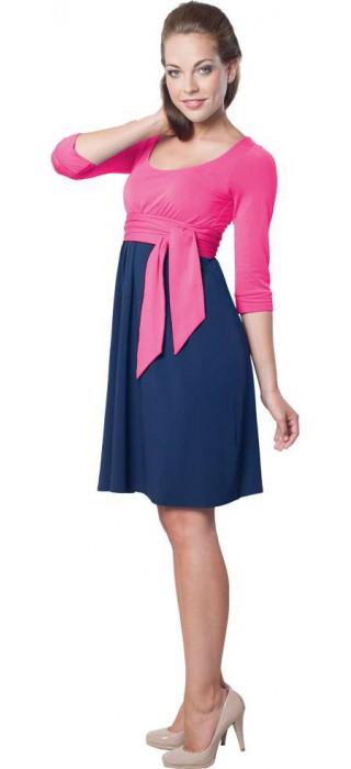 Těhotenské šaty - Nataly True Pink & Navy