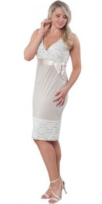 Těhotenské svatební šaty - Meghen Champagne Beige